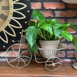 Metal wrought iron bicycle plant stand planter